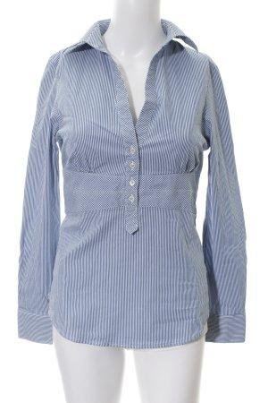 Zara Basic Langarm-Bluse graublau-weiß Streifenmuster Business-Look