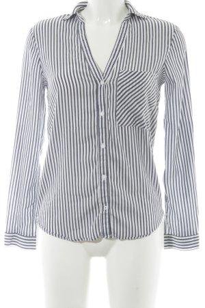 Zara Basic Langarm-Bluse graublau-weiß Streifenmuster schlichter Stil