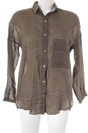 Zara Basic Langarm-Bluse grüngrau Casual-Look