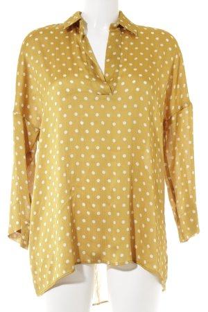 Zara Basic Langarm-Bluse hellbeige-goldorange Punktemuster Casual-Look