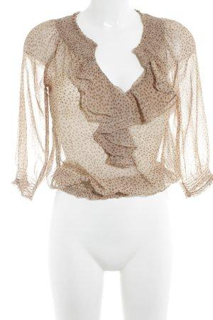 Zara Basic Langarm-Bluse hellbraun-beige Punktemuster Casual-Look