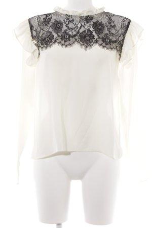 Zara Basic Langarm-Bluse hellgelb-schwarz Elegant