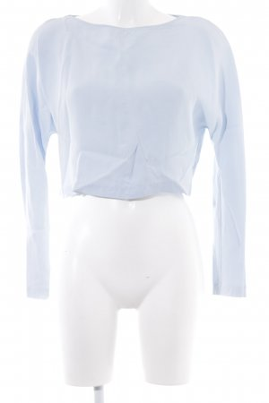 Zara Basic Langarm-Bluse himmelblau Casual-Look