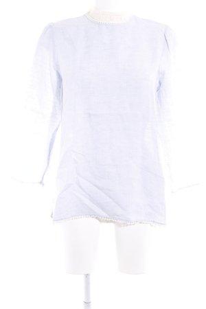 Zara Basic Langarm-Bluse himmelblau-creme Casual-Look
