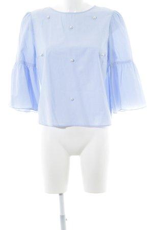 Zara Basic Langarm-Bluse himmelblau Webmuster Casual-Look