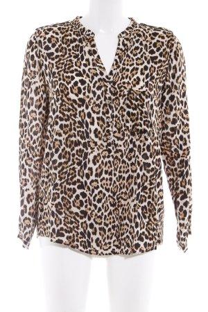Zara Basic Langarm-Bluse Leomuster Animal-Look