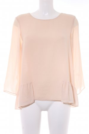 Zara Basic Langarm-Bluse nude Romantik-Look