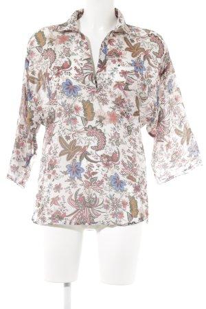 Zara Basic Langarm-Bluse rosa florales Muster Casual-Look