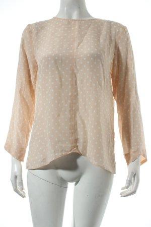 Zara Basic Langarm-Bluse rosé-weiß Punktemuster schlichter Stil