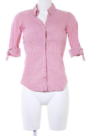 Zara Basic Langarm-Bluse rot-weiß Streifenmuster Casual-Look