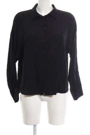 Zara Basic Blouse met lange mouwen zwart gestippeld patroon zakelijke stijl