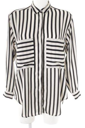 Zara Basic Langarm-Bluse schwarz-creme Streifenmuster Business-Look