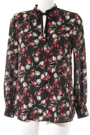 Zara Basic Langarm-Bluse schwarz-dunkelrot Blumenmuster Casual-Look