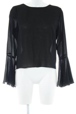 Zara Basic Langarm-Bluse schwarz Elegant