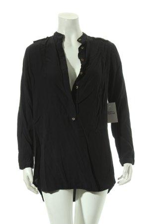 Zara Basic Langarm-Bluse schwarz schlichter Stil