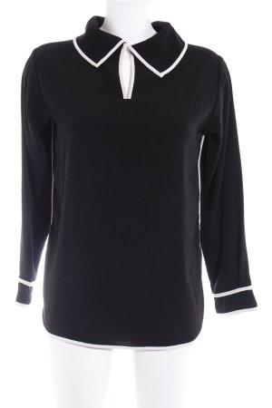 Zara Basic Langarm-Bluse schwarz-weiß Casual-Look