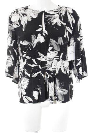 Zara Basic Langarm-Bluse schwarz-weiß florales Muster Business-Look