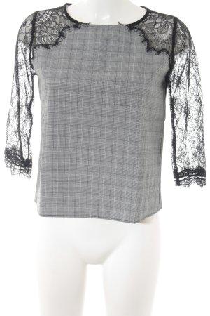 Zara Basic Langarm-Bluse schwarz-weiß Hahnentrittmuster Materialmix-Look