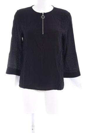 Zara Basic Langarm-Bluse schwarz-weiß Lagen-Look
