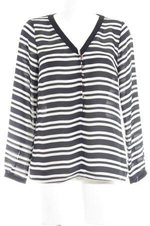Zara Basic Langarm-Bluse schwarz-weiß Streifenmuster Elegant