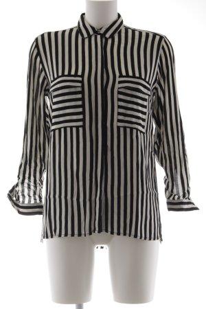 Zara Basic Langarm-Bluse schwarz-wollweiß Streifenmuster klassischer Stil