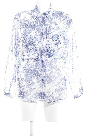 Zara Basic Langarm-Bluse weiß-blau florales Muster schlichter Stil