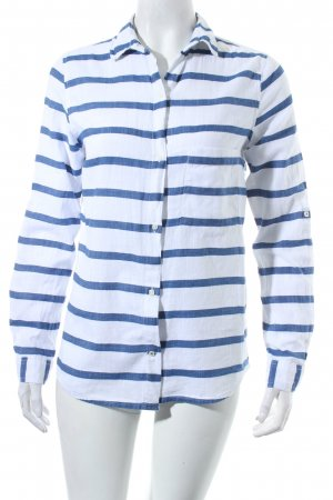 Zara Basic Langarm-Bluse weiß-blau Streifenmuster Casual-Look