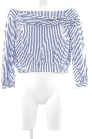 Zara Basic Langarm-Bluse weiß-blauviolett Streifenmuster Casual-Look