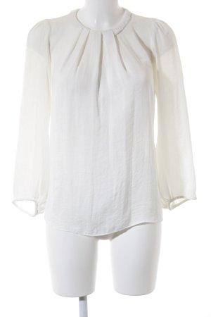 Zara Basic Langarm-Bluse weiß Boho-Look