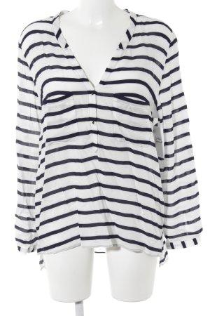 Zara Basic Langarm-Bluse weiß-dunkelblau Streifenmuster Marine-Look