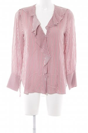 Zara Basic Langarm-Bluse weiß-dunkelrot Streifenmuster Casual-Look