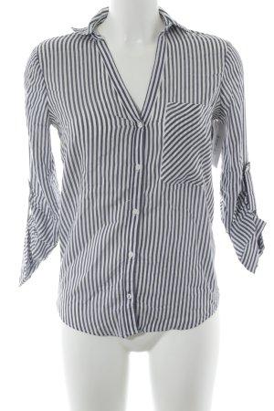 Zara Basic Langarm-Bluse weiß-graublau Streifenmuster Casual-Look