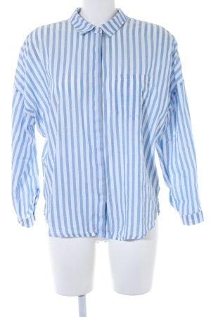 Zara Basic Langarm-Bluse weiß-himmelblau Streifenmuster Casual-Look