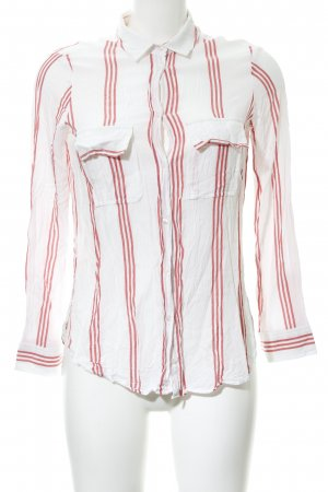 Zara Basic Langarm-Bluse weiß-rot Streifenmuster Casual-Look