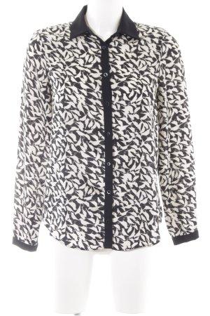 Zara Basic Langarm-Bluse weiß-schwarz abstraktes Muster Business-Look