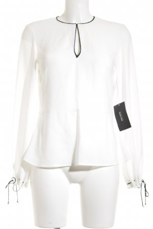 Zara Basic Langarm-Bluse weiß-schwarz Elegant