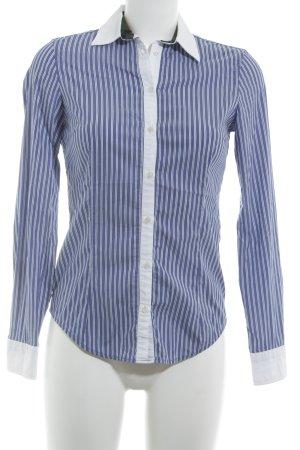 Zara Basic Langarm-Bluse weiß-stahlblau Streifenmuster Casual-Look