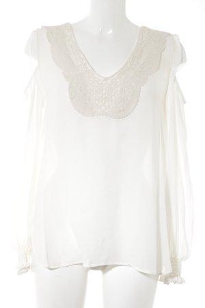 Zara Basic Langarm-Bluse weiß-wollweiß Casual-Look