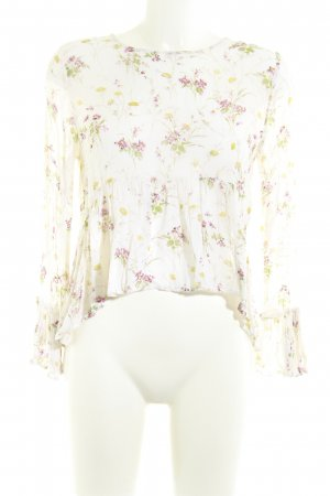 Zara Basic Langarm-Bluse wollweiß florales Muster Casual-Look