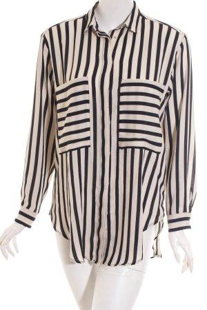 Zara Basic Langarm-Bluse wollweiß-schwarz Streifenmuster Casual-Look