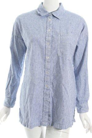 Zara Basic Langarmhemd weiß-himmelblau Streifenmuster Casual-Look