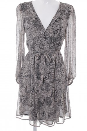 Zara Basic Langarmkleid beige-schwarz florales Muster Street-Fashion-Look