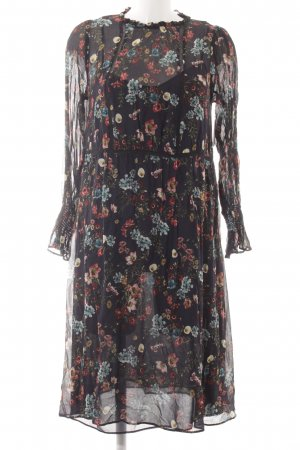Zara Basic Langarmkleid Blumenmuster Transparenz-Optik