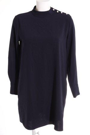 Zara Basic Langarmkleid dunkelblau-silberfarben Elegant