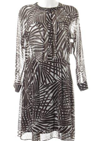 Zara Basic Langarmkleid dunkelbraun-weiß florales Muster Street-Fashion-Look