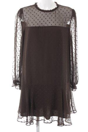 Zara Basic Langarmkleid dunkelgrün Punktemuster Casual-Look