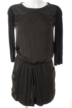 Zara Basic Langarmkleid schwarz-dunkelgrün Casual-Look