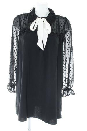 Zara Basic Langarmkleid schwarz-weiß Punktemuster Elegant