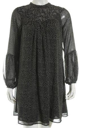 Zara Basic Langarmkleid schwarz-weiß Punktemuster Rockabilly-Look