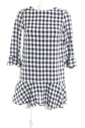 Zara Basic Langarmkleid schwarz-wollweiß Karomuster Casual-Look